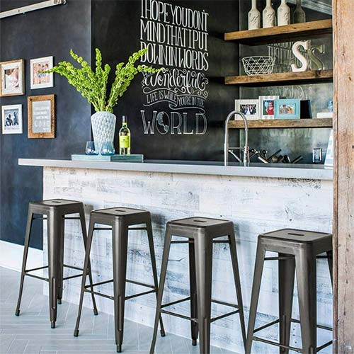 9. Yaheetech 30 inches Metal Bar Stools High Backless Bar Height stools Stackable Chairs