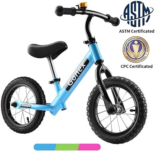 4. Gonex Kids Balance Bike 12 Inch No Pedal for 2 3 4 5 Years Old Boys Girls Starter Toddler Training Bike with EVA Foam Tires/Inflatable Rubber Tires, Green Blue Pink