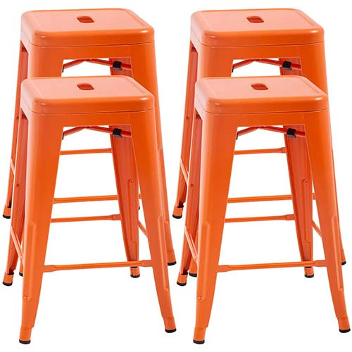 6. FDW Counter Height Bar Stools Set of 4 Metal Bar Stools
