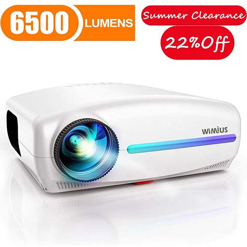 8. Projector, WiMiUS Native 1080P Projector 6500 Lumens Led Video Projector
