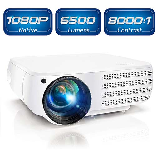 5. Projector 1080P Native 6500 Lumens HDMI Movie Projector