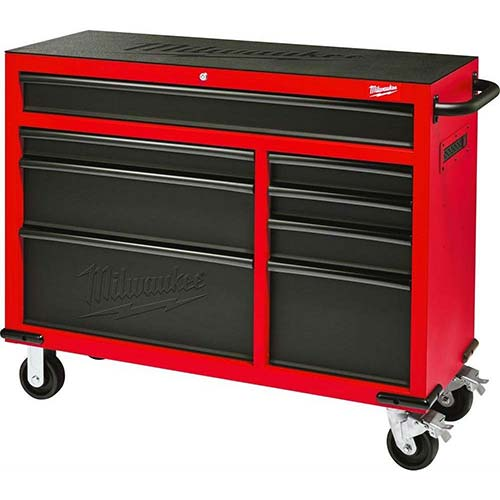 5. Milwaukee Heavy Duty Red & Black 46 in. 8-Drawer Rolling Steel Storage Cabinet | Contemporary Hardware Chest
