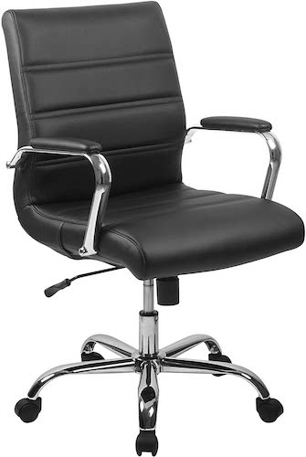 4. Flash Furniture Mid-Back Black LeatherSoft Executive Swivel Office Chair