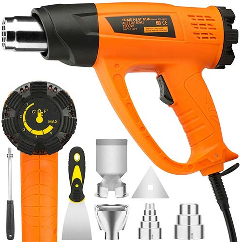 6. Heat Gun Variable Temperature, Yome 1800W 140℉~1112℉(60℃- 600℃) Hot Air Gun