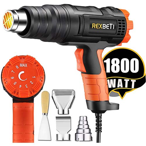 4. REXBETI 1800W Variable Temperature Heat Gun