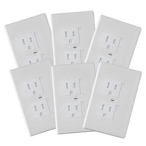 9. 6-Pack Safety Innovations Self-closing (1Screw) Standard Outlet Covers - An Alternative To Wall Socket Plugs for Child Proofing Outlets (White)