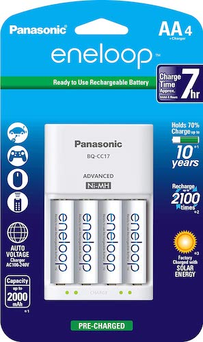 2. Panasonic K-KJ17MCA4BA Advanced Individual Cell Battery Charger Pack with 4 AA eneloop 2100 Cycle Rechargeable Batteries