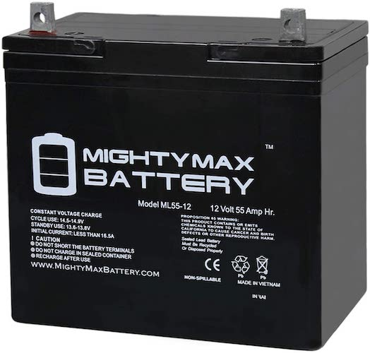 10. Mighty Max Battery 12V 55Ah Power Boat Pontoon Electric Trolling Motor Deep Cycle Battery