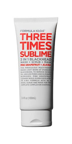 10. Formula 10.0.6 Three Times Sublime 3-in-1 Blackhead Wash + Scrub + Mask