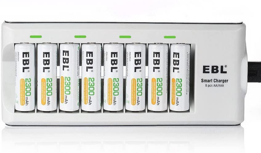 3. EBL Rechargeable AA Batteries 2300mAh Long Lasting Battery (8 Counts) with Battery Charger for AA AAA Batteries