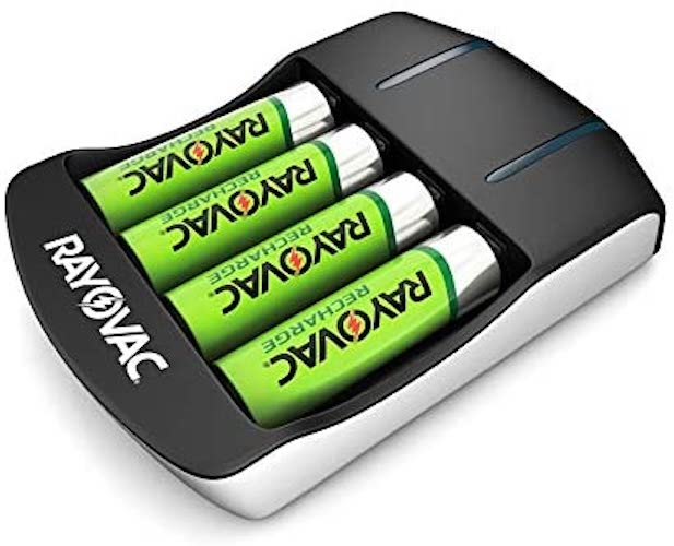 10. Rayovac AA Rechargeable Batteries with Battery Charger (4 Rechargeable AA Batteries with Smart Charger)