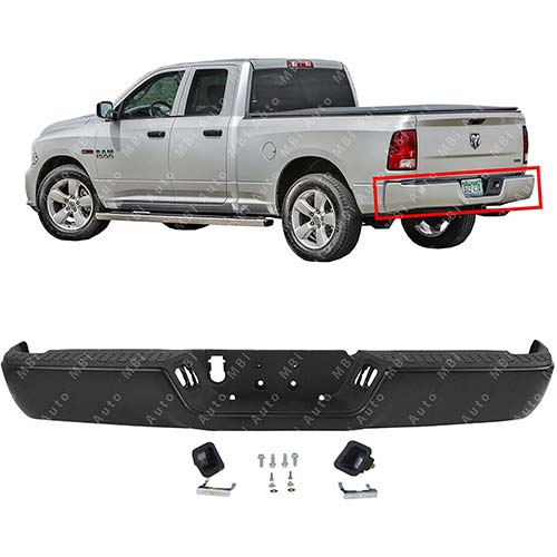 8. MBI AUTO - Primered Steel, Rear Bumper Assembly for 2009-2018 RAM 1500 Pickup 09-18, CH1103120