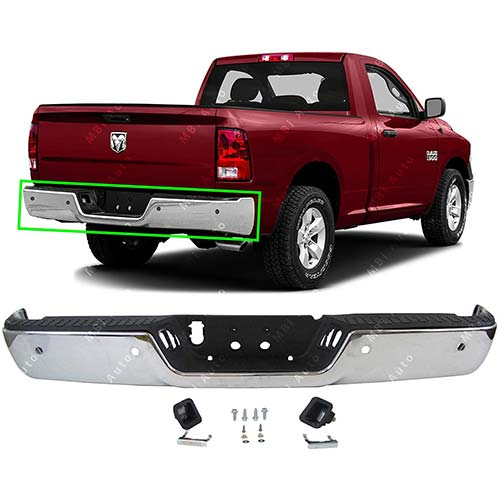 10. MBI AUTO - Chrome Steel, Rear Bumper Assembly for 2009-2018 Dodge RAM 1500 Pickup 09-18