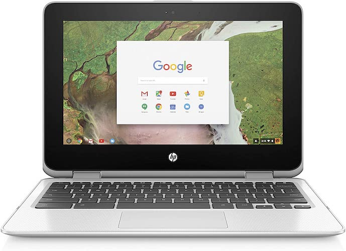 4. HP Chromebook 11.6in HD Touch Screen with IPS, Celeron N3060 @ 1.6GHz, 4GB RAM, 16GB eMMC, Gray (Renewed)