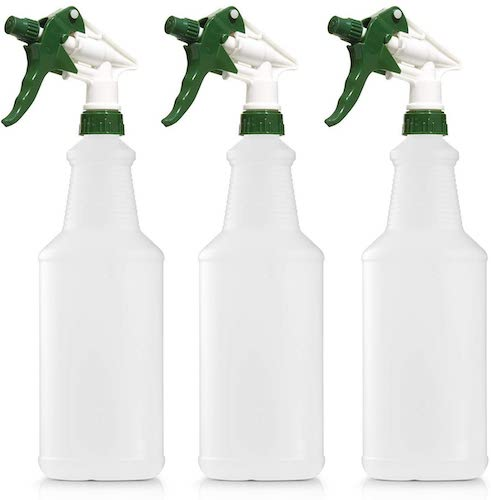 4. Empty Plastic Spray Bottle 32 Ounce, Professional Chemical Resistant with White-Green Sprayer