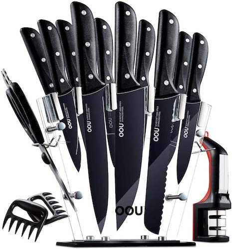 1. Knife Set, OOU Kitchen Knife Set, 15 Pieces Forged Full Tang High Carbon Stainless Steel fixed with Triple Rivets