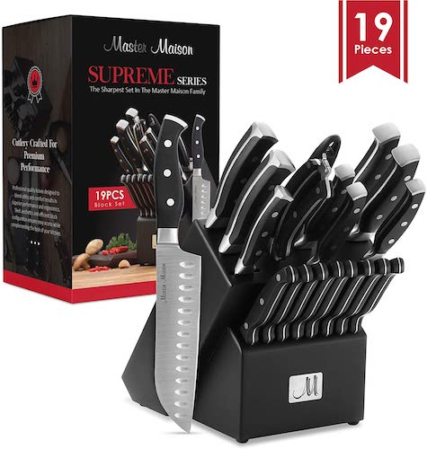 7. 19-Piece Premium Kitchen Knife Set With Wooden Block | Master Maison German Stainless Steel Cutlery