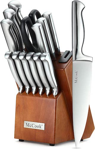 6. McCook MC29 Knife Sets, 14 Pieces German High Carbon Stainless Steel Hollow Handle Self Sharpening Kitchen Knife Set