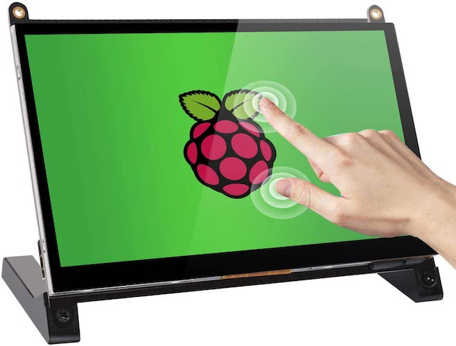 5. Raspberry Pi Touchscreen Monitor, 7'' HDMI Touch Screen Display IPS 1024x600 with Prop Stand Built-in Dual Speakers