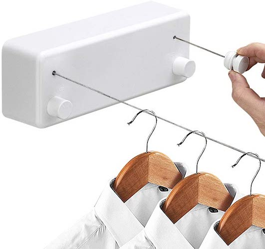 6. Hoimpro Retractable Clothesline with Adjustable Stainless Steel Double Rope String Hotel Style Heavy Duty, White