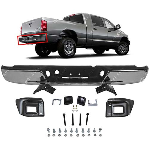 4. MBI AUTO - Chrome, Steel Rear Step Bumper Complete Assembly for 2013-2018 RAM 2500 3500 13-18, CH1103128