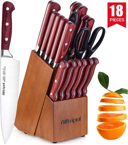 9. Knife Set, Premium 18-Piece Kitchen Knife Set with Block made of High Carbon German Stainless Steel by Alltripal