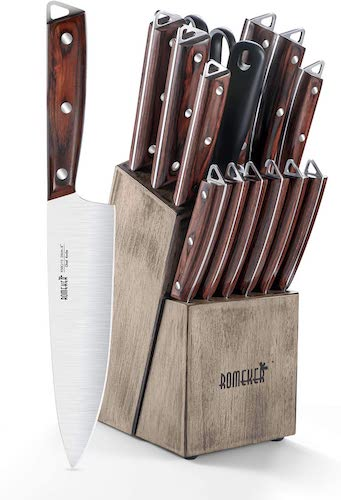 8. ROMEKER 15-piece Kitchen Knife Set with Wooden Block German High-Carbon Stainless Steel Chef Knife Set