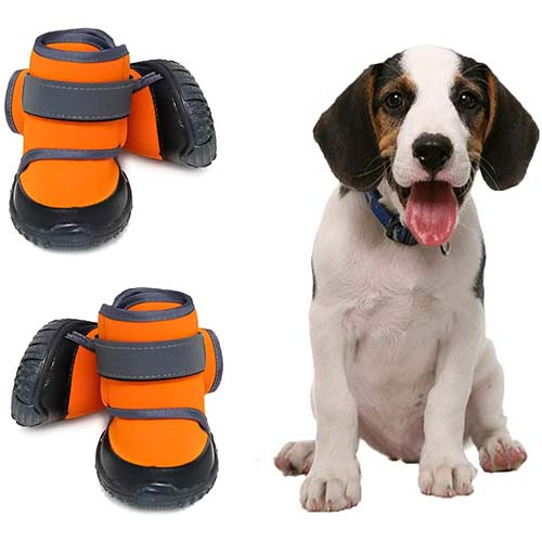 9. JiAmy Dog Shoes Dog Boots Snow Dog Booties Dogs Paw Protection