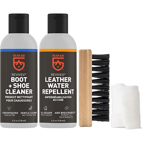 9. Gear Aid Revivex Leather Boot Care Kit with Water Repellent, Cleaner, Brush and Cloth