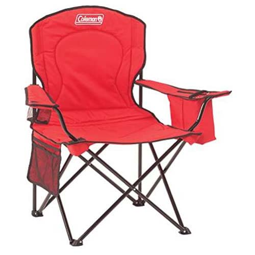 5. Coleman Portable Camping Quad Chair with 4-Can Cooler