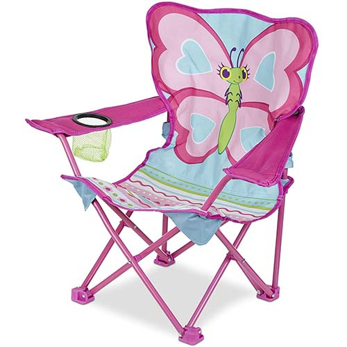 2. Melissa & Doug Cutie Pie Butterfly Camp Chair (Easy to Open, Handy Cup Holder, Cleanable Materials, Carrying Bag)