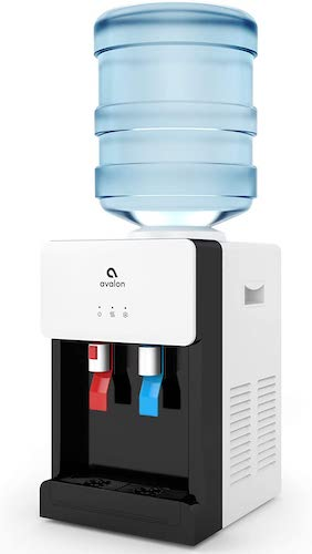 1. Avalon Premium Hot/Cold Top Loading Countertop Water Cooler Dispenser With Child Safety Lock. UL/Energy Star Approved- White