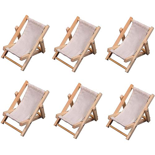 6. 6 Mini Beach Lounge Chairs, Folding Sling Style, Wood with White Fabric