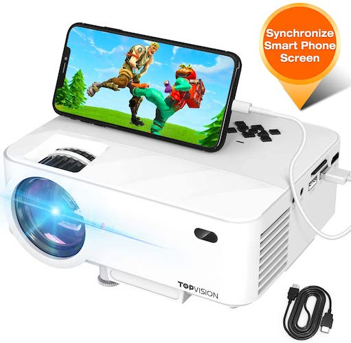 1.Mini Projector, TOPVISION Projector with Synchronize Smart Phone Screen, Upgrade to 3600L, 1080P Supported, 176