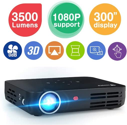 8. WOWOTO H8 3500 lumens Mini Projector LED DLP 1280x800 Real Mini Home Theater Projector WXGA Support 3D 1080P HD Perfect
