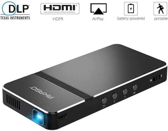 3. Pico Projector, AKASO Mini Projector Portable 1080P HD DLP LED 50 ANSI Lumens with WiFi, Audio and Remote Control