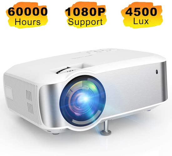 5.Projector, TOPVISION 1080P Supported Video Projector with 4500L, 60,000 Hrs Home Projector for Indoor/Outdoor with Speakers
