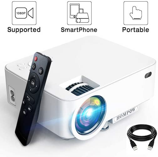 4.Mini Projector - 3600L Hompow Smartphone Portable Video Projector 1080P Supported 176