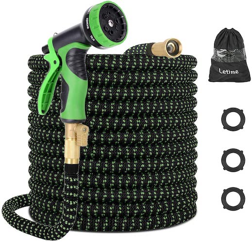 2. LETIME Expandable Garden Hose 100 Feet, Durable Water Hose with 9-Way Spray Nozzle and 3/4 inch Solid Brass Fittings