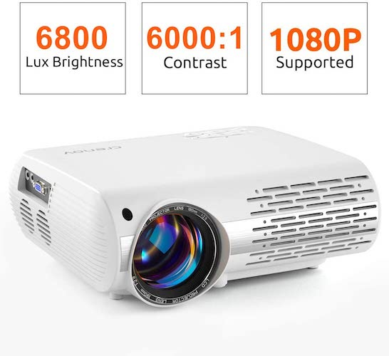 8.crenova Video Projector, 6800 Lux Home Movie Projector(550 ANSI), 200'' Display HD LED Projector 1080P Supported