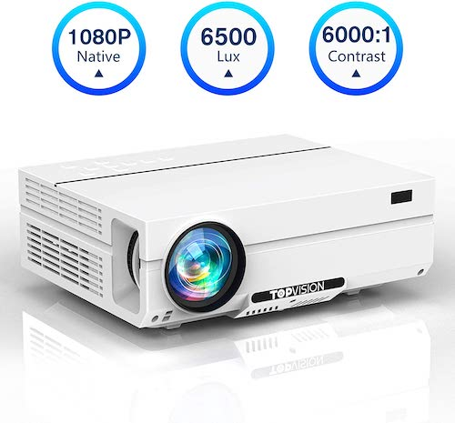 7. Projector Native 1080P, TOPVISION Video Projector