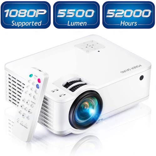 9.Projector, [2020 Updated] Mini Projector 1080P Supported, 5500 Lux 210