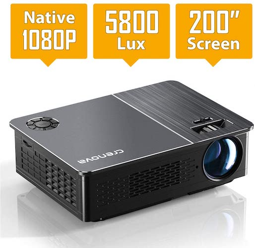 10.Native 1080P Projector, Crenova HD Video Projector, 5800 Lux LED Movie Projector with 200