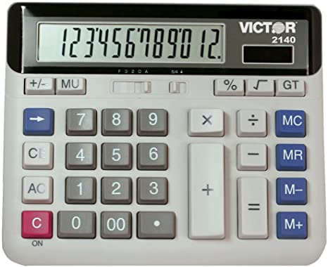 6. Victor 2140 12-Digit Standard Function Desk Calculator, Large Keys, Battery and Solar Hybrid Powered LCD Angled Display