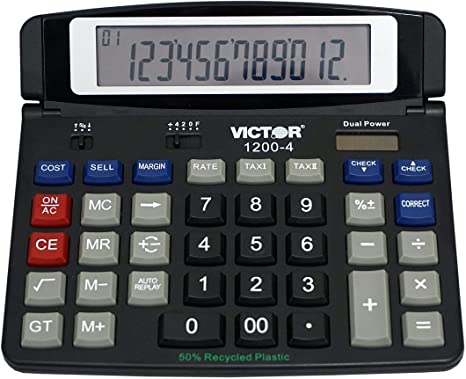 4. Victor 1200-4 12-Digit Large Professional Desktop Calculator, Battery and Solar Hybrid Powered Tilt LCD Display