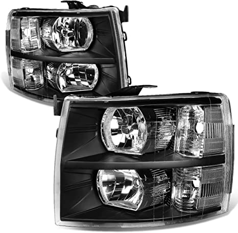 9. Auto Dynasty Pair of Black Housing Clear Corner Headlight Assembly Lamps Replacement for Chevy Silverado 1500 2500 3500 GMT900 07-14