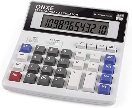 7. Calculator, ONXE Standard Function Scientific Electronics Desktop Calculators, Dual Power, Big Button 12 Digit Large LCD Display