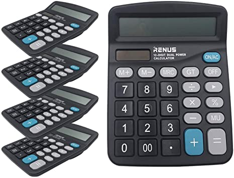 2. RENUS Calculator 5 Packs, Electronic Desktop Calculator with 12 Digit Large Display, Solar Battery LCD Display Office Calculator