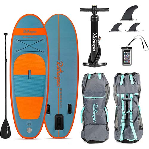 7. Retrospec Weekender-Nano 8ft. Inflatable Stand Up Paddleboard Triple Layer Military Grade PVC iSUP Bundle