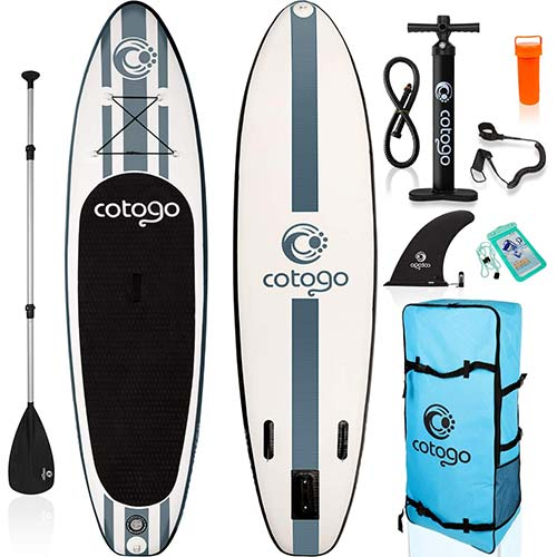 9. rolimate Inflatable Stand Up Paddle Board, with All SUP Accessories 120 inches Length / 6 Inches Thickness